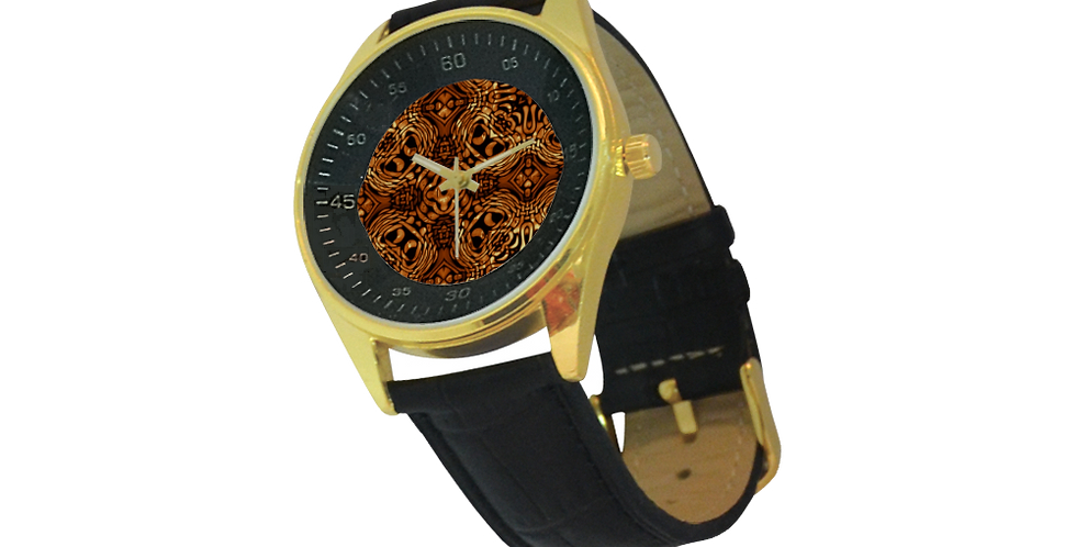 Men's Gold & Leather Strap Watch