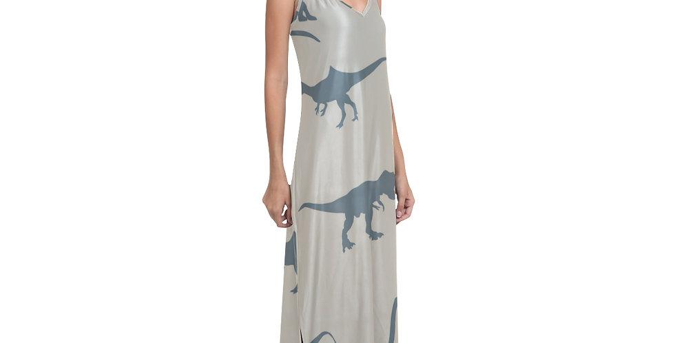 V-Neck Open Fork Long Dress