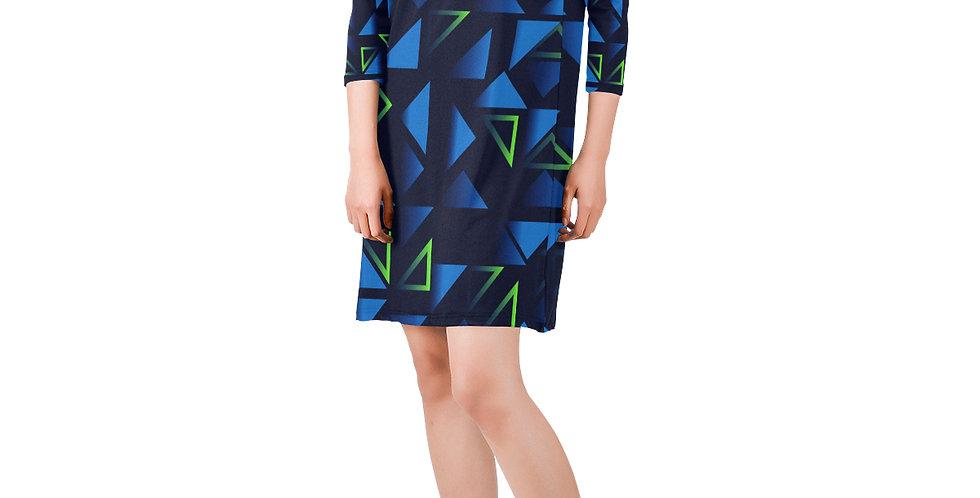 V-Neck Three-Quarter Sleeve Dress