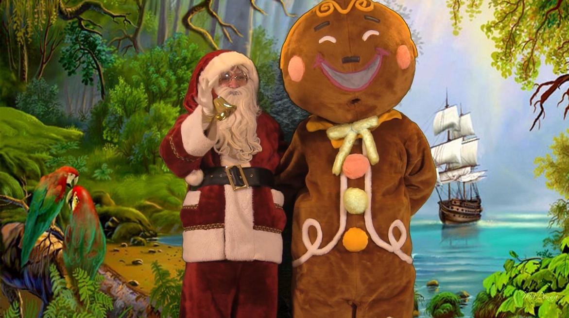 Mascotte petit biscuit et Père Noël