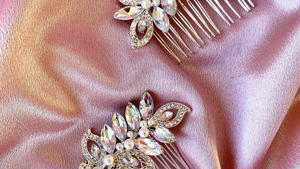 The Giselle Hair Combs - Silver