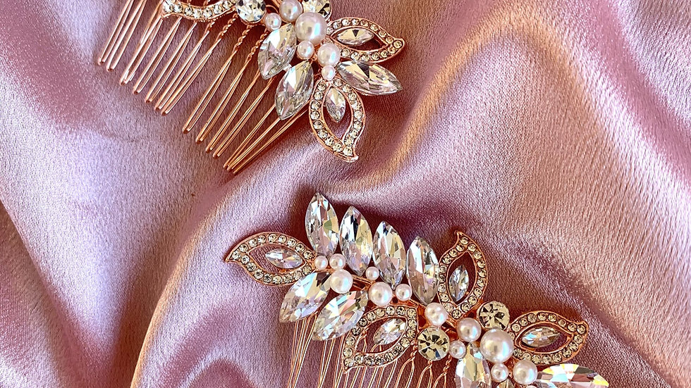 The Giselle Hair Combs - Rose Gold