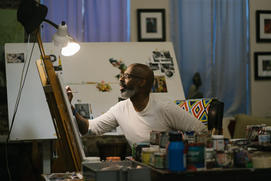 Studio Visit: Atlanta Artist Charly Palmer on Painting John Legend's Portrait and What He 'Has to' Listen to While He Works