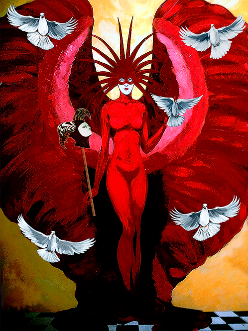 Red Lady With Doves