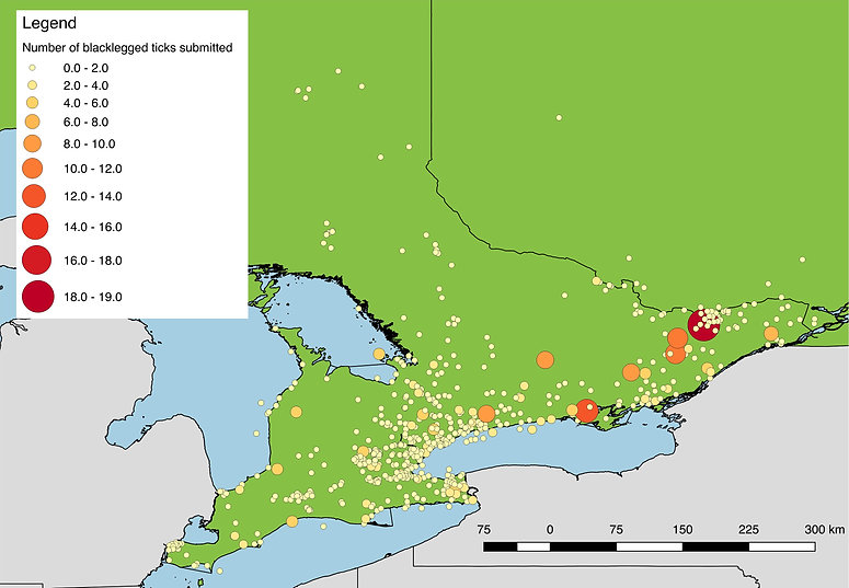 Blacklegged ticks submitted from Southern Ontario, 2017