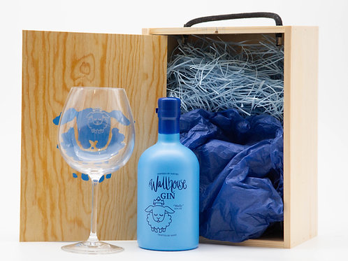 Gift box with a bottle of 'Wally' and one of his glasses.