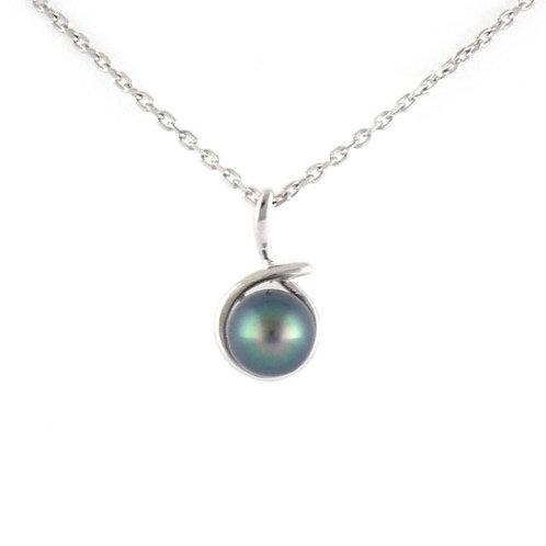 Pendentif argent et perle ovale