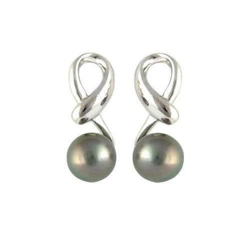 Boucles d'oreilles argent et perles ovales