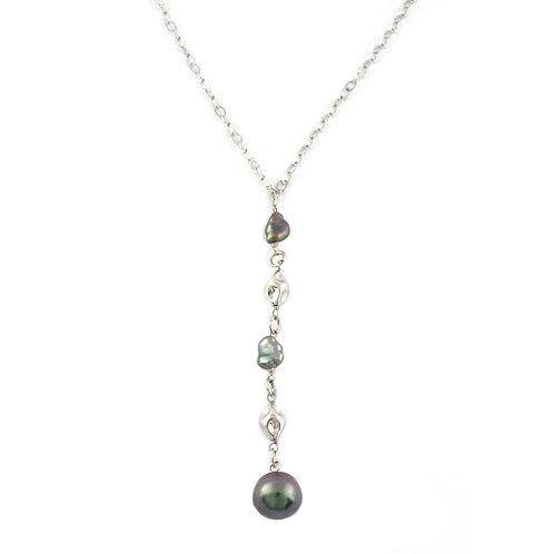 Collier argent, keshis et perle cerclée