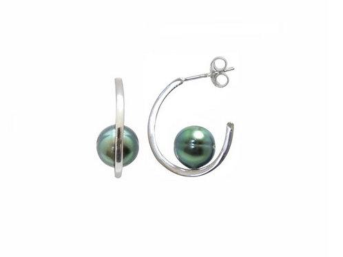 Boucles d'oreilles argent et perles cerclées