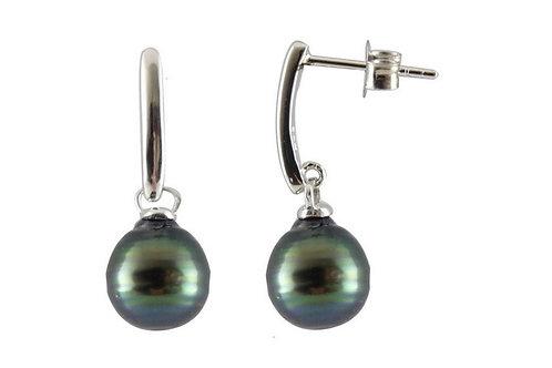 Boucles d'oreille argent et perles cerclées
