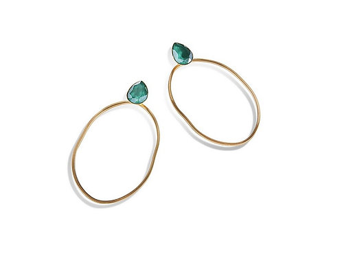 Boucles d'Oreilles Longues Ovales Crystal RAGGED OVAL