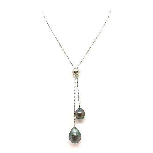 Collier argent et perles cerclées