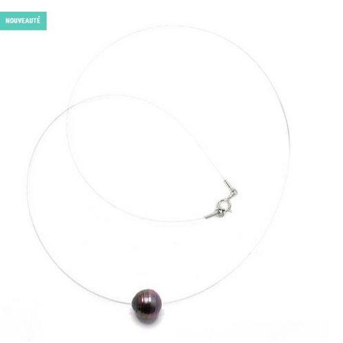 Collier nylon, perle cerclée et fermoir argent