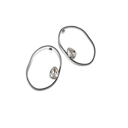 Boucles d'Oreilles Crystal RAGGED OVAL
