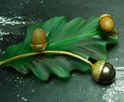 Feuille d'agathe perle de tahiti et deux