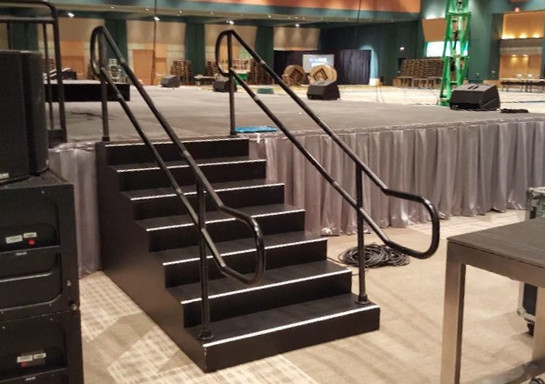 Rental stairs and skirt