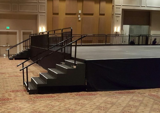 Rental stairs, hand rails, and skirt