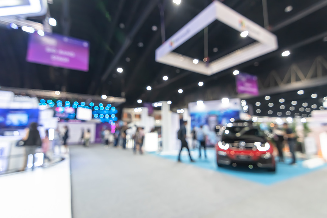 Exhibition event hall blur background of