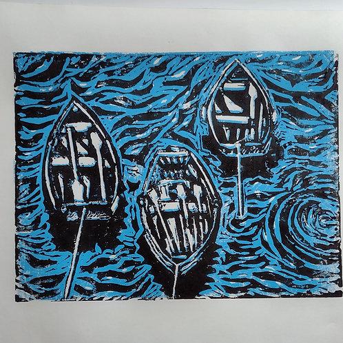 Boats - original Lino print