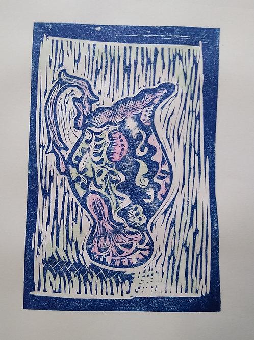 Print Lino Jwg Gymreig/Welsh Jug Linoprint