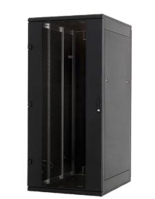 "Rack 19"", 45HE, IP30, 800x1000, 1200Kg, porta in vetro, nero, armadio lan pavime"
