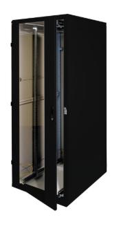 """Rack 19"""" da pavimento, 800x1000, 27U, IP20, porta in vetro, nero (Triton RMA-27-"""