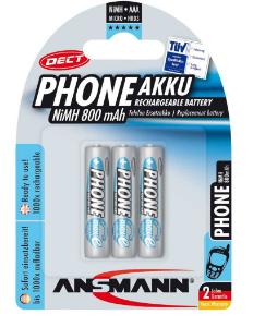 Batteria Ricaricabile NiMH, ministilo AAA, 800mAh, Blister 3pz (Ansmann Phone DE