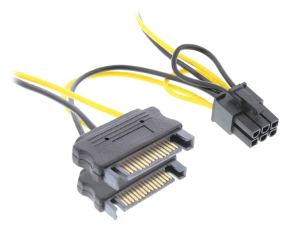 Cavo alimentazione interna da 6 pin PCIe femmina a 2x SATA 15 pin maschio, 0,15m