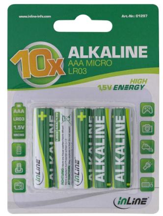 Batteria Alcalina High Energy, ministilo AAA LR03, 1,5V, Conf. 10pz