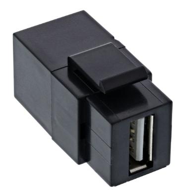 Inserto a scatto Keystone InLine® USB 2.0, presa / presa USB-A, angolato, nero