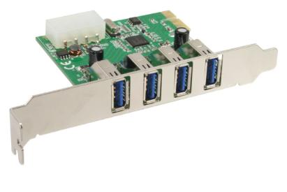 Scheda USB 3.0 Host-Controller aggiuntiva, 4x porte esterne, PCIe ( PCI-Express
