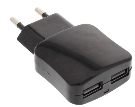 Alimentatore USB da rete elettrica, In: Europlug 100-240VAC, Out: 2 x prese USB