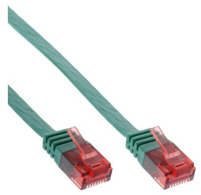 Cavo Rete Lan, U/UTP, Cat.6 Piatto, verde, 0,5m, Patch Ethernet PVC, CU (100% ra