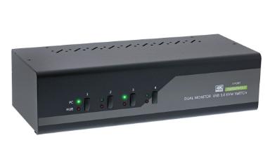 KVM Desktop Switch, 4-fach, Dual-Monitor DisplayPort 1.2, 4K, USB 3.0, Audio