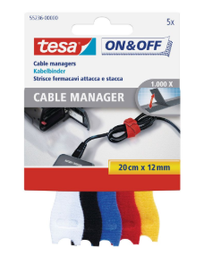 Fascette tesa On & Off in velcro, 5 pezzi, 20 cm x 12 mm, colorate
