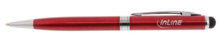 Stylus, penna sfera, pennino touch capacitivo, punta gomma 8mm, metallo, rosso