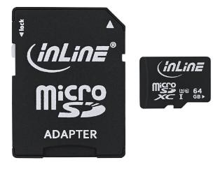 Scheda di memoria MicroSDXC con adattatore SD, Classe 10/U3, 64GB