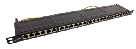 "InLine® Patch Panel Cat.6A 24-porte, 48,26cm (19""), 0,5HE, nero RAL9005"