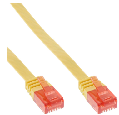 Cavo Rete Lan, U/UTP, Cat.6 Piatto, giallo, 1m, Patch Ethernet PVC, CU (100% ram