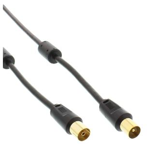Cavo antenna TV, Premium, spinotti IEC, filtro antirumore, nero, 5m