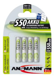 Batteria Ricaricabile NiMH, ministilo AAA, 550mAh, Blister 4pz (Ansmann 5030772)