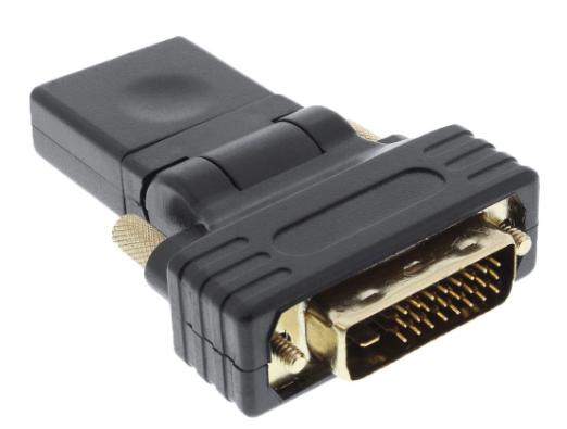 Adattatore HDMI-DVI, Typ A femmina a DVI-D 24+1 maschio, orientabile 180°, dorat