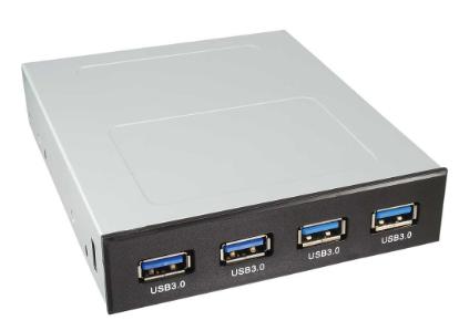 """Pannello frontale PC per Floppy Slot Bay da 3,5"""" con 4x USB 3.0, nero"""
