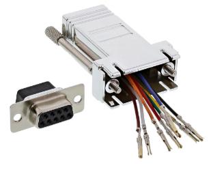 Adattatore modulare telefonico RS232 Sub-D 9pin femmina a RJ45 femmina, metalliz