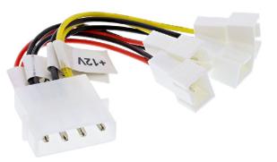 Cavo alimentazione interna ventole, riduttore tensione, 2x 12V-2x 5V, da 4 pin