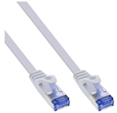 Cavo patch InLine® piatto, U / FTP, Cat.6A, bianco, 7m