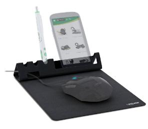 Tappetino multifunzione per mouse con supporto smartphone e portapenne, pieghev