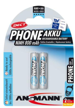 Batteria Ricaricabile NiMH, ministilo AAA, 800mAh, Blister 2pz (Ansmann Phone DE