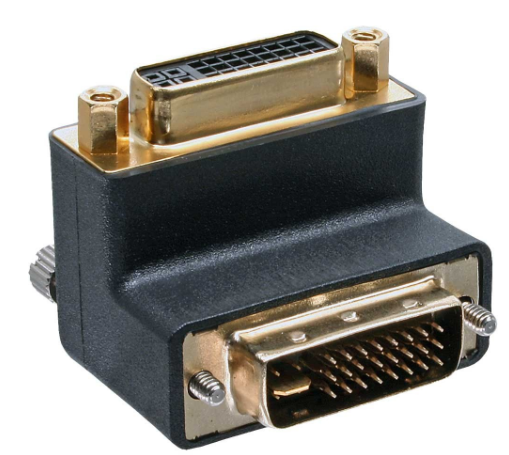 Adattatore DVI-I 24+5 maschio / femmina, digitale + analogico, angolato 90°
